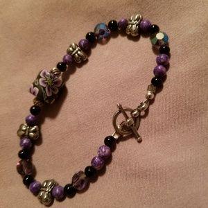 Jewelry - Sterling Silver Butterfly & Vintage Bead Bracelet